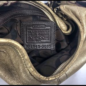 Coach Bags - 👛2/$50 Coach Metallic Gold Leather Crescent Hobo